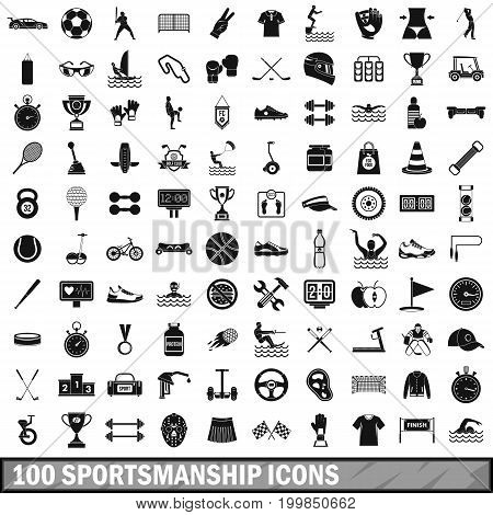 100 sportsmanship icons set in simple style for any design vector illustration