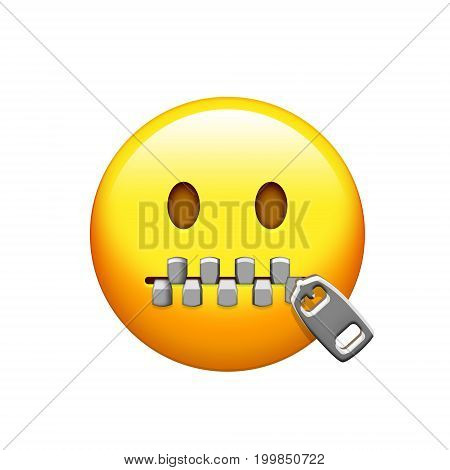 Isolated Yellow Emotional Face And Zipped Mouth Icon