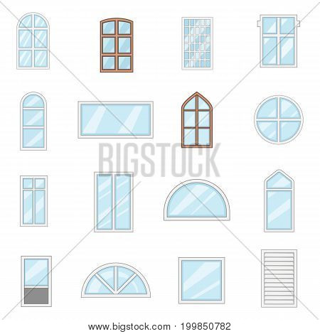 Window design types icons set. Cartoon illustration of 16 window design types vector icons for web