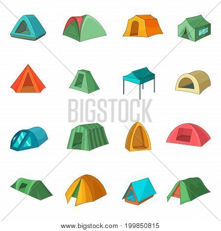 Tent forms icons set. Cartoon illustration of 16 tent forms vector icons for web