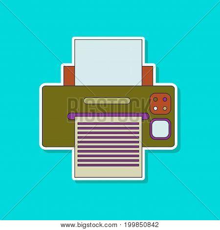 paper sticker on stylish background of Printer