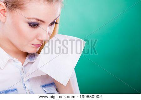 Sad Upset Young Woman Is Crying