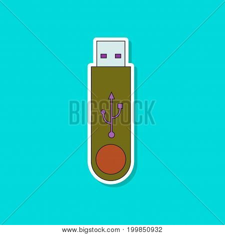 paper sticker on stylish background of flash drive