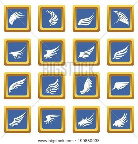 Wing icons set in blue color isolated vector illustration for web and any design