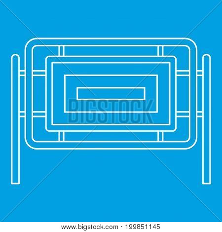 Square fence icon blue outline style isolated vector illustration. Thin line sign