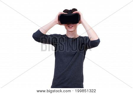The Man With Glasses Of Virtual Reality On White Isolated Background.