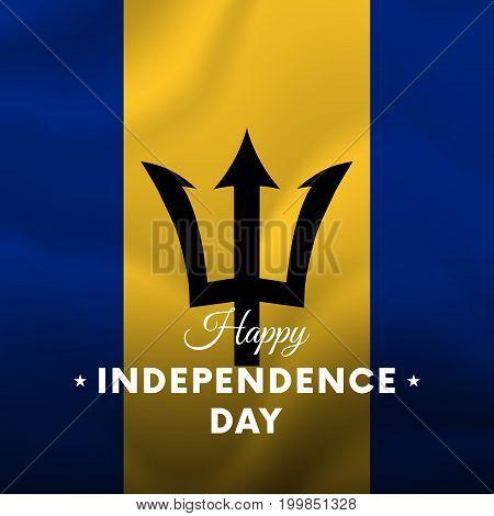 Banner or poster of Barbados independence day celebration. Waving flag. Vector illustration.