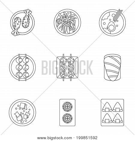 Food icons set. Outline set of 9 food vector icons for web isolated on white background