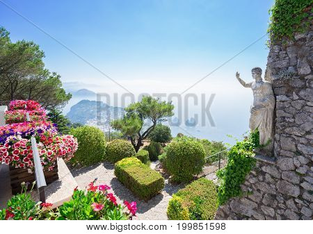View from mount Solaro of Capri island, Italy