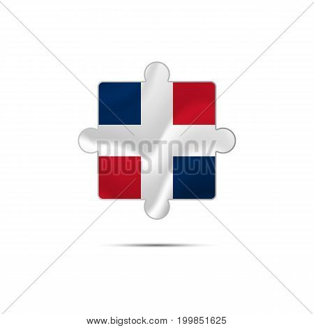 Isolated piece of puzzle with the Dominican Republic flag. Vector illustration.