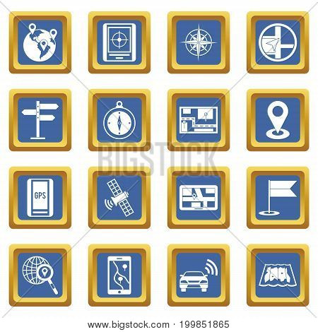 Navigation icons set in blue color isolated vector illustration for web and any design