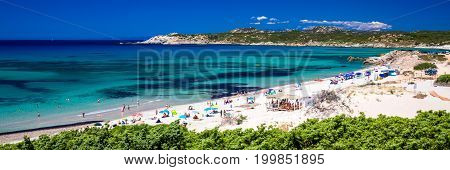 Spiaggia Di Rena Maiori Beach With Azure Clear Water And Mountains, Sardinia