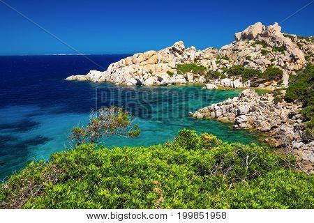 Stunning Sardinia Coastline With Rocks And Azure Clear Water, Sardinia, Italy.