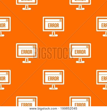 Error sign on a computer monitor pattern repeat seamless in orange color for any design. Vector geometric illustration