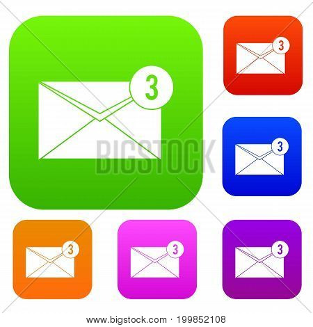 Envelope with three messages set icon in different colors isolated vector illustration. Premium collection