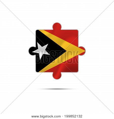 Isolated piece of puzzle with the East Timor flag. Vector illustration.