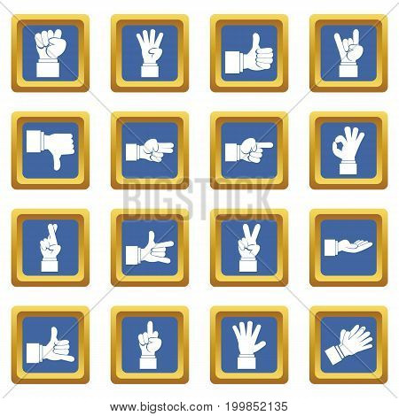 Hand gesture icons set in blue color isolated vector illustration for web and any design