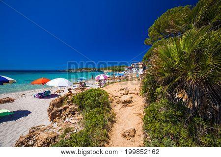 Piaggia Delle Bombarde Beach Near Alghero, Sardinia, Italy.