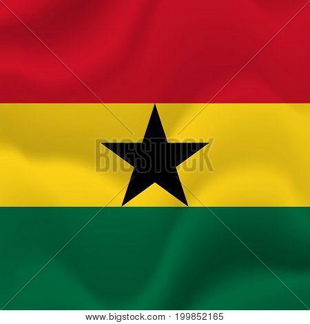 Ghana waving flag. Waving flag. Vector illustration.