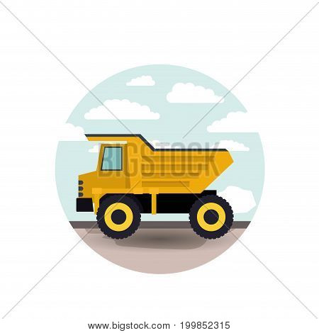 white background with circular scene city landscape and dump truck vector illustration