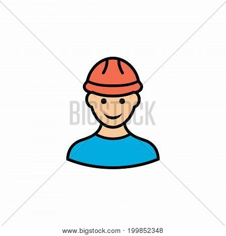 Builder flat vector icon. Colored builder icon in flat style for web design.