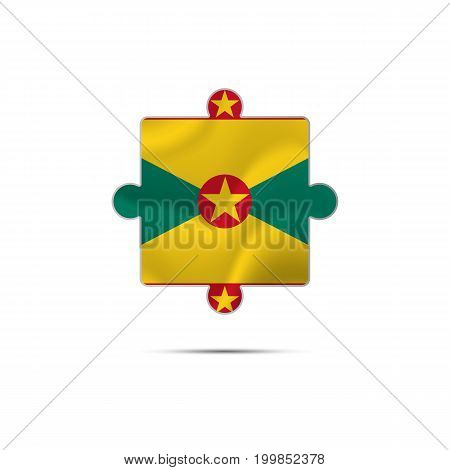 Isolated piece of puzzle with the Grenada flag. Vector illustration.