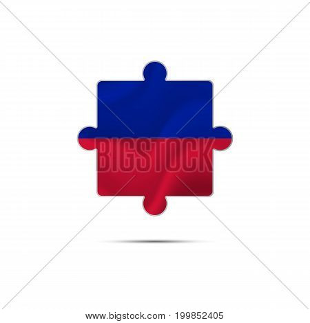 Isolated piece of puzzle with the Haiti flag. Vector illustration.