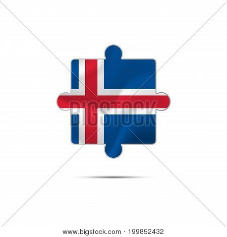 Isolated piece of puzzle with the Iceland flag. Vector illustration.