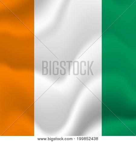 Ivory Coast waving flag. Waving flag. Vector illustration.