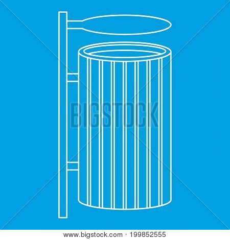 Public litter bin icon blue outline style isolated vector illustration. Thin line sign