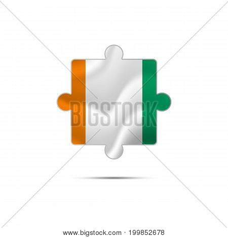 Isolated piece of puzzle with the Ivory Coast flag. Vector illustration.