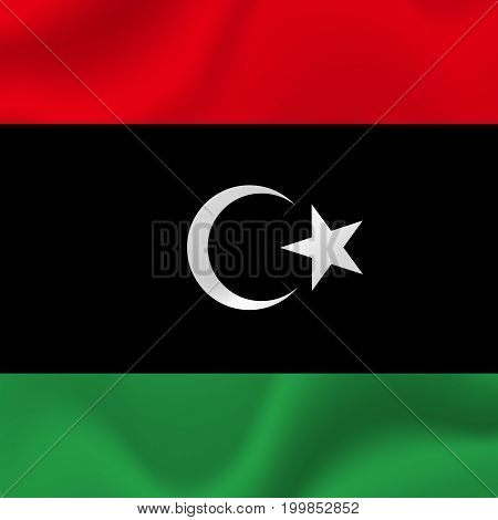 Libya waving flag. Waving flag. Vector illustration.