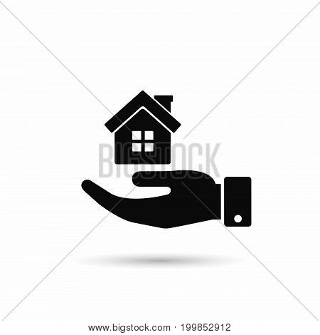 House in hand icon vector isolated illustration.