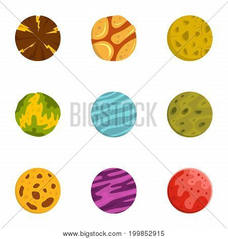 Space planet icons set. Flat set of 9 space planet vector icons for web isolated on white background
