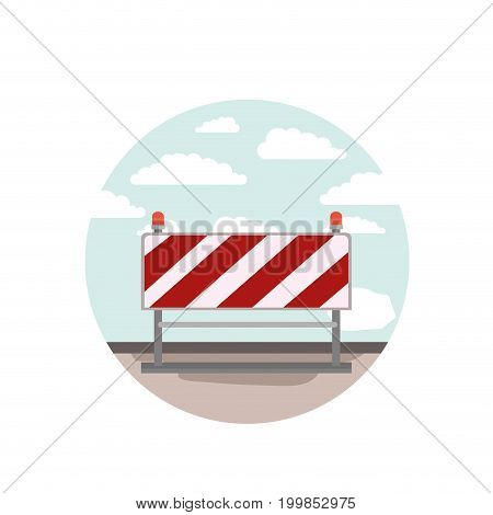 circular scene city landscape and traffic barrier of red and white stripes vector illustration