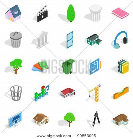 Excellent house icons set. Isometric set of 25 excellent house vector icons for web isolated on white background