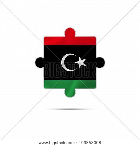 Isolated piece of puzzle with the Libya flag. Vector illustration.