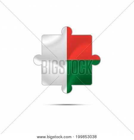 Isolated piece of puzzle with the Madagascar flag. Vector illustration.