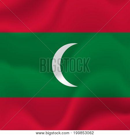 Maldives waving flag. Waving flag. Vector illustration.