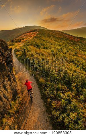 Mountain biking women riding on bike in autumn mountains forest landscape. Woman cycling MTB flow trail track. Outdoor sport activity.