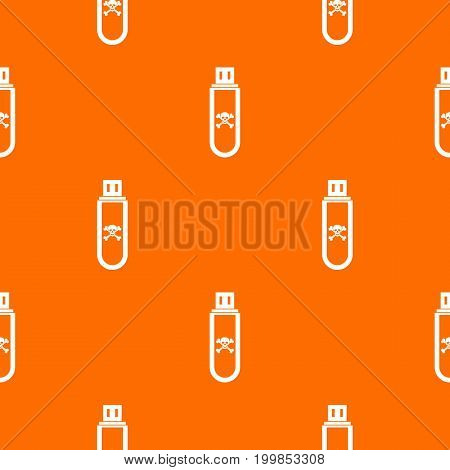 Infected USB flash drive pattern repeat seamless in orange color for any design. Vector geometric illustration