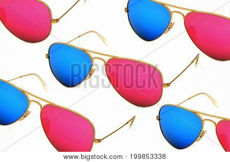 sunglasses 3D on white background photo close up