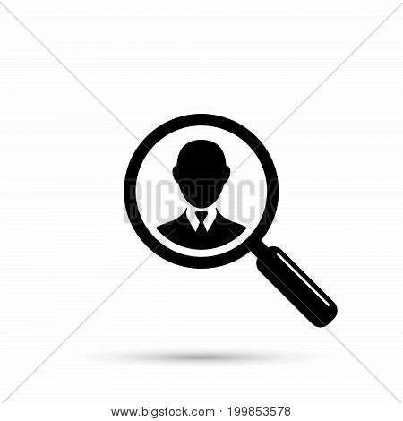Search for employees human resource. Search man black simple icon with magnifier. Vector.