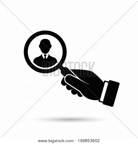 Hand with magnifier search man illustration. Vector.