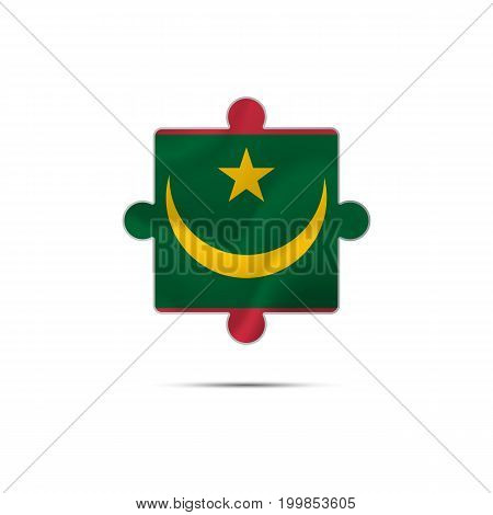 Isolated piece of puzzle with the Mauritania flag. Vector illustration.