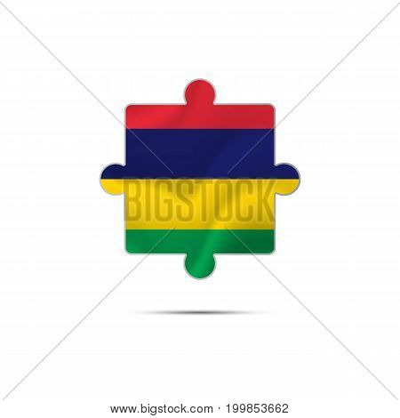 Isolated piece of puzzle with the Mauritius flag. Vector illustration.
