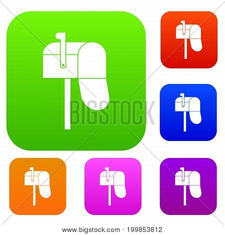 Open mailbox set icon in different colors isolated vector illustration. Premium collection
