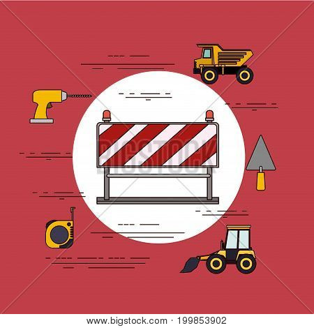 color background circular frame with barricade in red and white stripes with tools for construction vector illustration