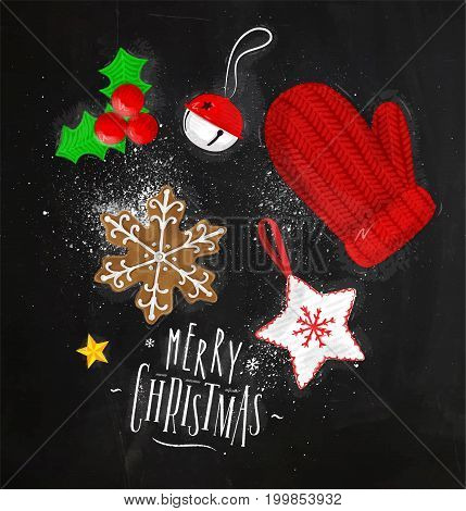Christmas theme elements biscuit glove bell Christmas tree decoration star lettering merry christmas drawing in vintage style on chalkboard