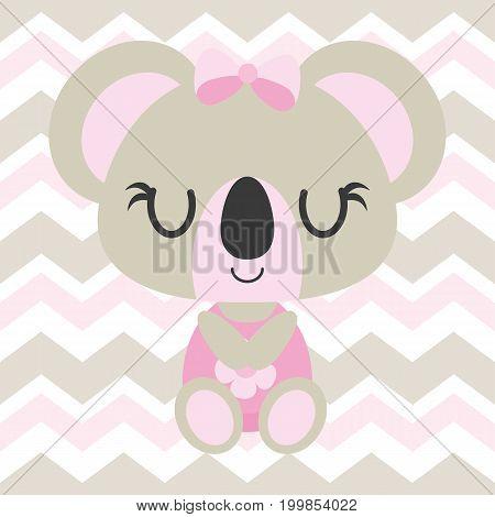 Cute baby koala sleeps on chevron background vector cartoon illustration for baby shower card design, kid t shirt design, and wallpaper